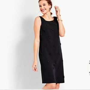 NWT Talbots RSVP Black Beaded Crepe Sheath Dress